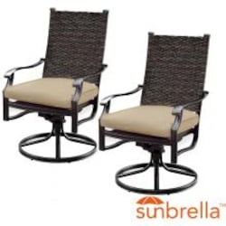 Carondelet 2 Piece Wicker Patio Swivel Rocker W/ Sunbrella Spectrum Sand Cushion By Lakeview Outdoor Designs image