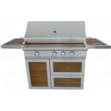 Caliber CrossFlame Pro 42-Inch Freestanding Natural Gas Grill With Sear Burner And Rotisserie - Wood Panels / Handle