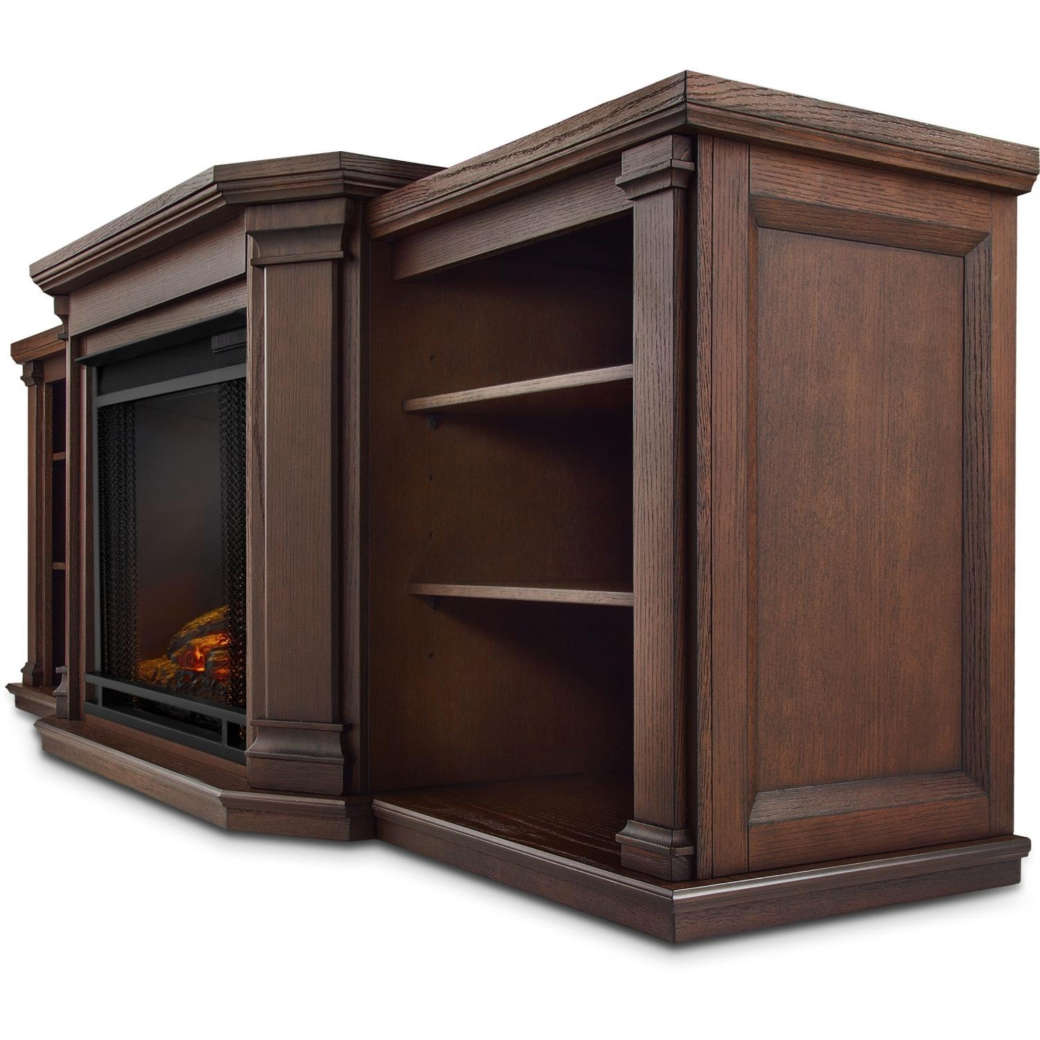 Real Flame Valmont 75 Inch Electric Fireplace Media Console Chestnut Oak Fireplace Country