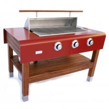 Rockwell By Caliber 60-Inch Freestanding Propane Gas Grill On Wood Table - Red Rockwell By Caliber 60-Inch Freestanding Gas Grill - Hood Partially Open