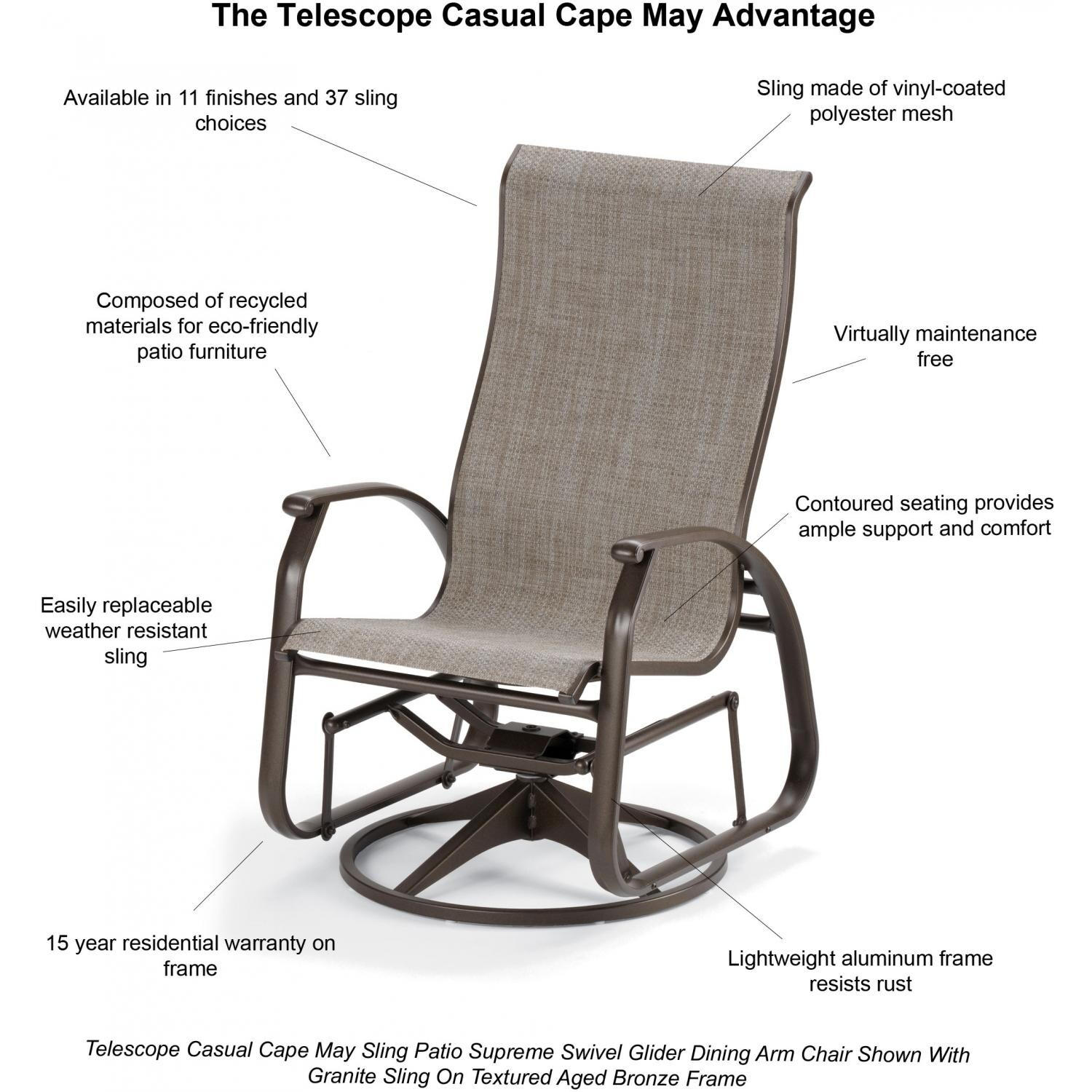 Telescope Casual Cape May Sling Patio Supreme Swivel Glider Dining