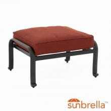 Villa Flora Cast Aluminum Patio Ottoman W/ Sunbrella Canvas Henna Cushions By Lakeview Outdoor Designs image