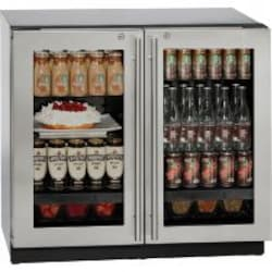 U-Line 3000 Series 36-Inch 6.9 Cu. Ft. Built-In Dual Zone Compact Refrigerator With Glass Doors And Lock - Stainless Steel - U-3036RRGLS-13B image