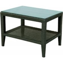 Darlee Vienna Resin Wicker Patio Side Table With Glass Top image