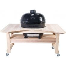 Primo Ceramic Smoker Grill On Curved Cypress Table - Oval XL