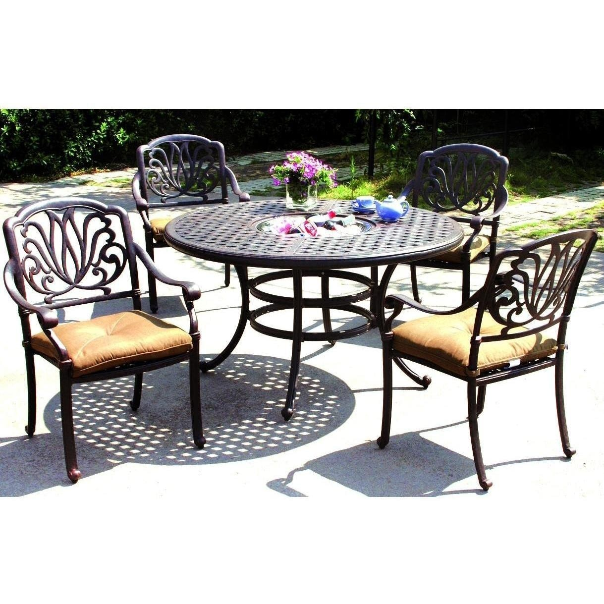 Darlee Elisabeth 5 Piece Cast Aluminum Patio Dining Set Dining Table With I