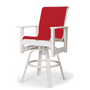 Leeward MGP Outdoor Counter Height Swivel Bar Stool With Sling Seating By Telescope Casual - Textured Snow/Red image