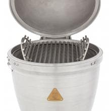 Blaze 20-Inch Cast Aluminum Kamado Grill On Deluxe Stainless Steel Cart Blaze 20-Inch Cast Aluminum Kamado Grill - Double Hinged Cooking Grate