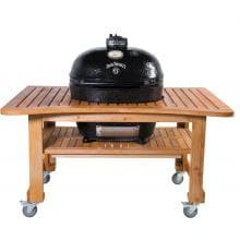Primo Jack Daniels Edition Ceramic Charcoal Smoker Grill On Teak Table - Oval XL Primo Jack Daniels Edition Ceramic Charcoal Smoker Grill On Teak Table - Oval XL