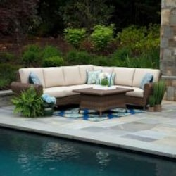 Aspen 5 Piece Wicker Sectional Set W/ Sunbrella Spectrum Sand Cushions by Canopy Home and Garden image