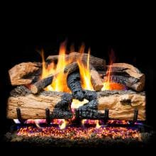 Peterson Real Fyre 30-Inch Charred Evergreen Split Oak With Vented Natural Gas G52 Burner - Match Light image