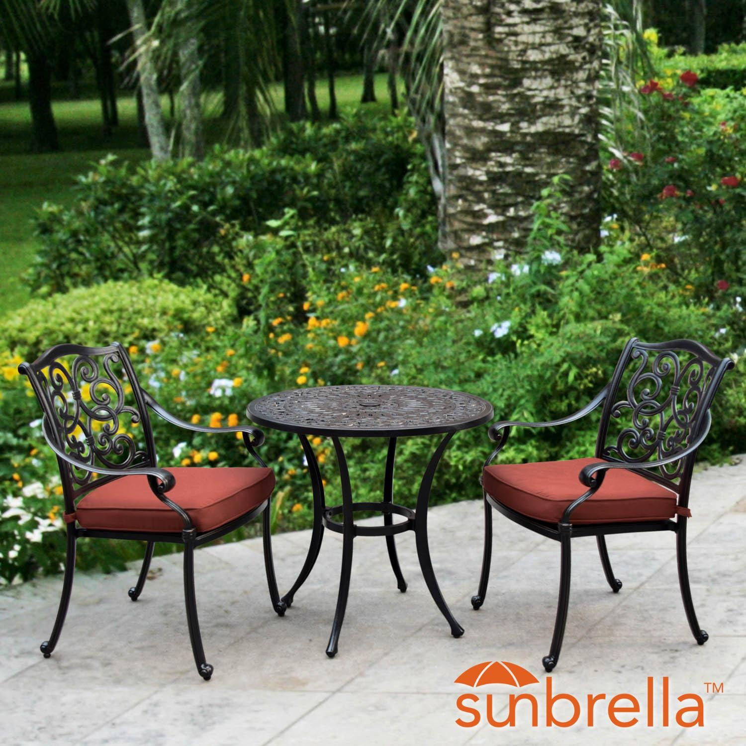 Villa Flora 3 Piece Cast Aluminum Patio Bistro Set W/ 30 Inch Round Table U0026  Sunbrella Canvas Henna Cushions By Lakeview Outdoor Designs   Lifestyle