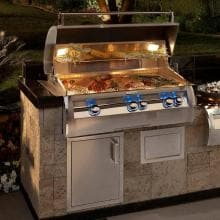 Fire Magic Echelon Diamond E790i 36-Inch Built-In Propane Gas Grill W/ Analog Thermometer - E790i-4EAP Fire Magic Echelon Diamond E790i A Series Propane Gas Built-In Grill - Installed In An Outdoor Kitchen