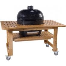 Primo Ceramic Smoker Grill On Teak Table - Oval Junior