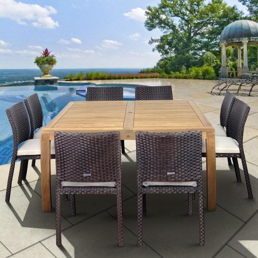 Amazonia Teak Georgia 8 Person Patio Dining Set With Teak Table And  Stacking Chairs
