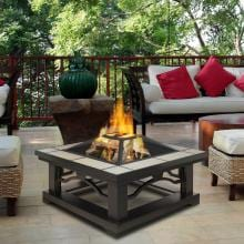 Real Flame Crestone 34-Inch Wood Burning Fire Pit - Gray Tile - 914-GRT Real Flame Crestone 34-Inch Wood Burning Fire Pit - Shown in Use