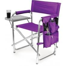 Picnic Time Portable Folding Sports Chair With Side Table - Purple
