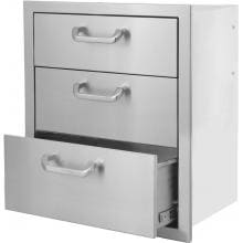 BBQGuys.com Kingston Series 20-Inch Stainless Steel Triple Access Drawer BBQGuys.com Kingston Series Triple Access Drawer Front View