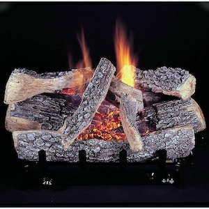 Rasmussen 18-Inch Bark Gas Log Set With Vent Free Propane Evening Embers C5 Triple Burner - Manual Safety Pilot image