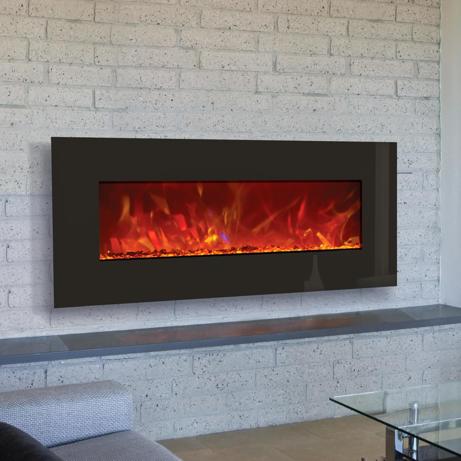 Amantii Advanced Series 43 Inch Wall Mount Built In Electric Fireplace Black Glass Wm Bi 43