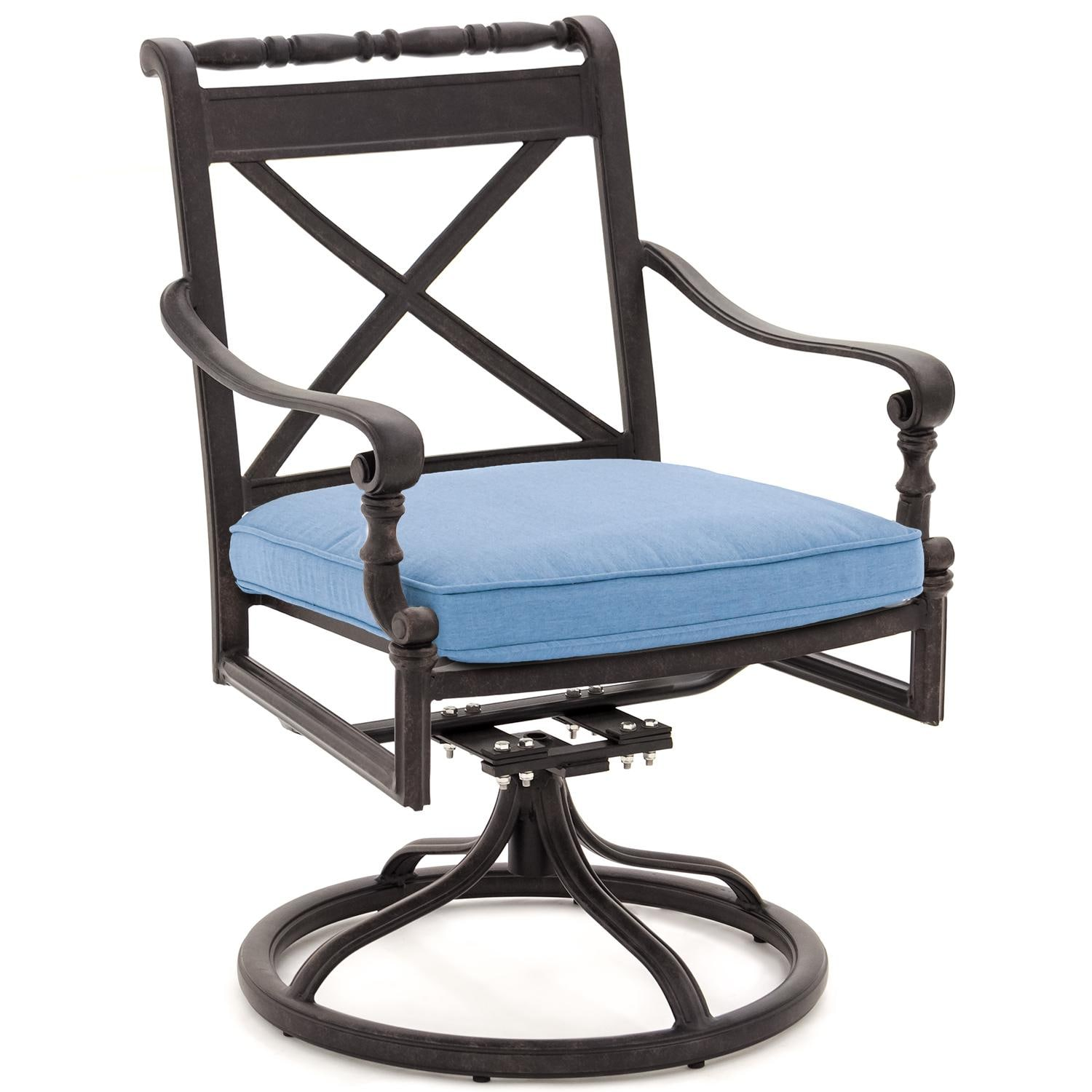 Superb img of Carrolton Cast Aluminum Swivel Rocker Patio Dining Chair By Lakeview  with #3E638D color and 1500x1500 pixels