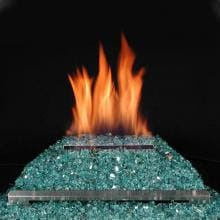 Rasmussen 20-Inch Blue/Green ALTERNA FireGlitter Set With Vent Free Natural Gas Stainless Steel Chassis Burner - Variable Flame Remote