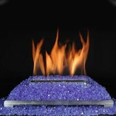 Rasmussen 30-Inch Cobalt Blue ALTERNA FireGlitter Set With Vent Free Propane Stainless Steel Chassis Burner - Variable Flame Remote