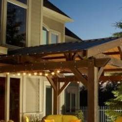 Forest Green Metal Roof for Lodge II 14 x 14 Foot Wood Pergola by Outdoor GreatRoom Company image