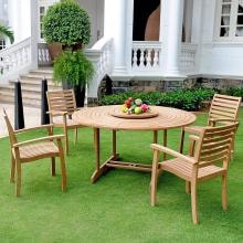 Royal Collection by HiTeak Furniture Teak 4-Person Patio Dining Set-With Removable Lazy Susan image