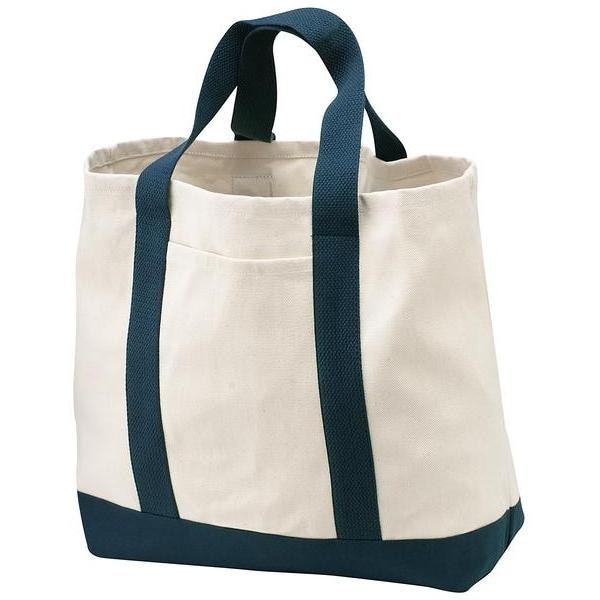 Port & Company 2-Tone Shopping Tote Bag - Natural/Navy