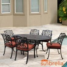 Villa Flora 7 Piece Cast Aluminum Patio Dining Set W/ Oval Table & Sunbrella Canvas Henna Cushions By Lakeview Outdoor Designs image