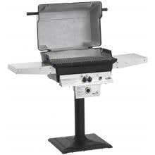 PGS T-Series T40 Commercial Cast Aluminum Freestanding Propane Gas Grill With Timer On Bolt-Down Patio Post PGS T-Series T40 Commercial Cast Aluminum Freestanding Gas Grill - Hood Open