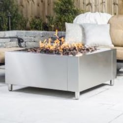 Lakeview Outdoor Designs 42-Inch Stainless Steel Square Fire Pit - Natural Gas image