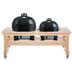 Primo Oval XL & Oval Junior Ceramic Kamado Grills On Cypress All Event Table image