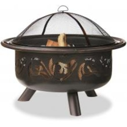 UniFlame 32 Inch Oil Rubbed Bronze Firebowl Fire Pit With Swirl Tree Design image