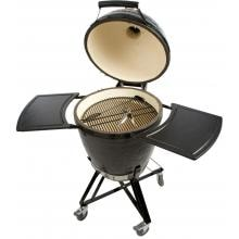 Primo All-In-One Ceramic Kamado Grill With Cradle & Side Shelves Primo Ceramic Kamado Charcoal Smoker Grill On Cradle With Side Shelves - Open View