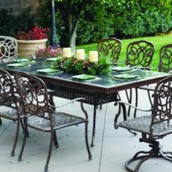 Darlee Florence 9 Piece Cast Aluminum Patio Dining Set With Granite Top Table - Mocha / Brown Granite Tile image