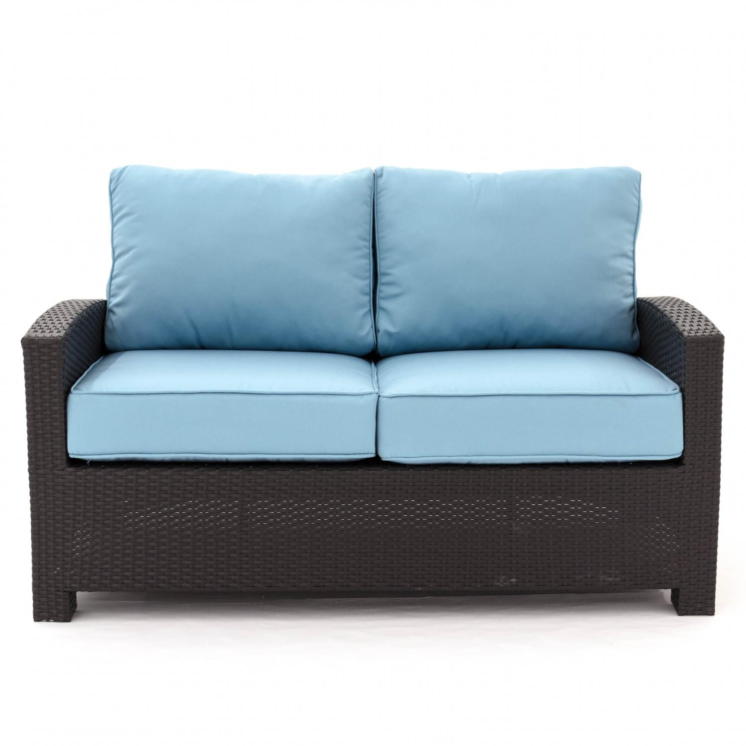 Eden Isle Resin Wicker Patio Loveseat By Lakeview Outdoor Designs Canvas Mineral Blue Bbq Guys