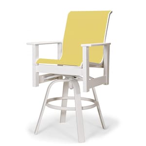 Leeward MGP Outdoor Counter Height Swivel Bar Stool With Sling Seating By Telescope Casual - Textured Snow/Yellow image