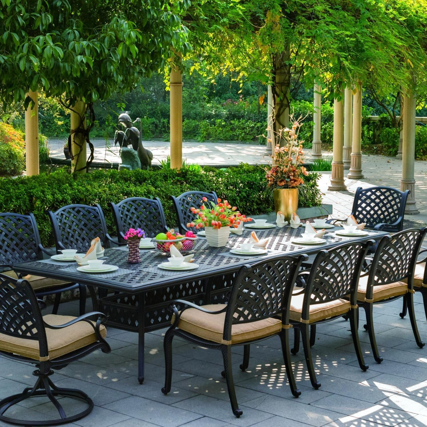 Darlee nassau 10 person cast aluminum patio dining set for Outdoor dining sets for 10