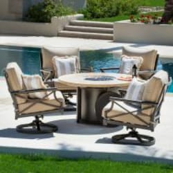 Laguna 5 Piece Aluminum Patio Fire Pit Conversation Set With Swivel Rockers By Coyote Outdoor Furniture image