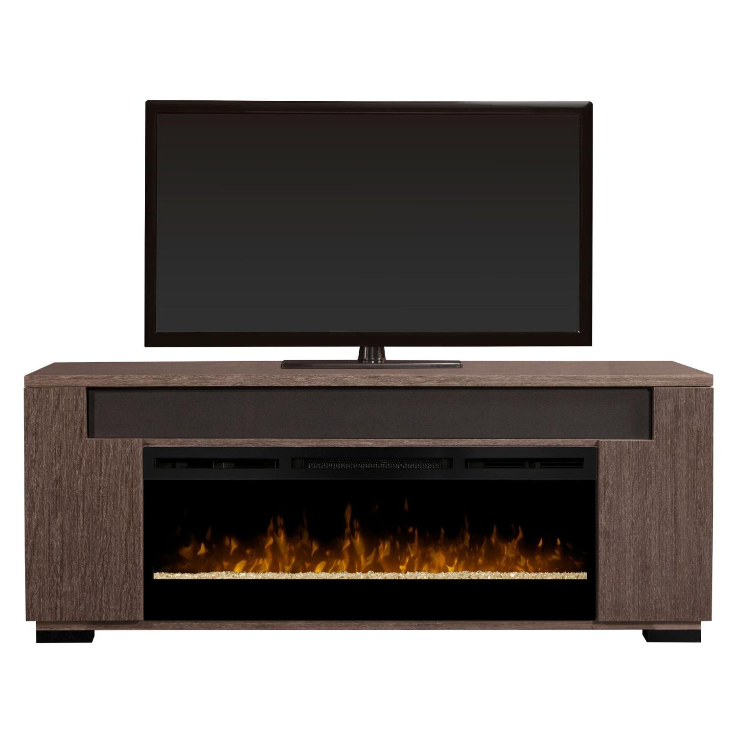 Dimplex Haley 76 Inch Electric Fireplace A Console Acrylic Ice Embers Rift Grey