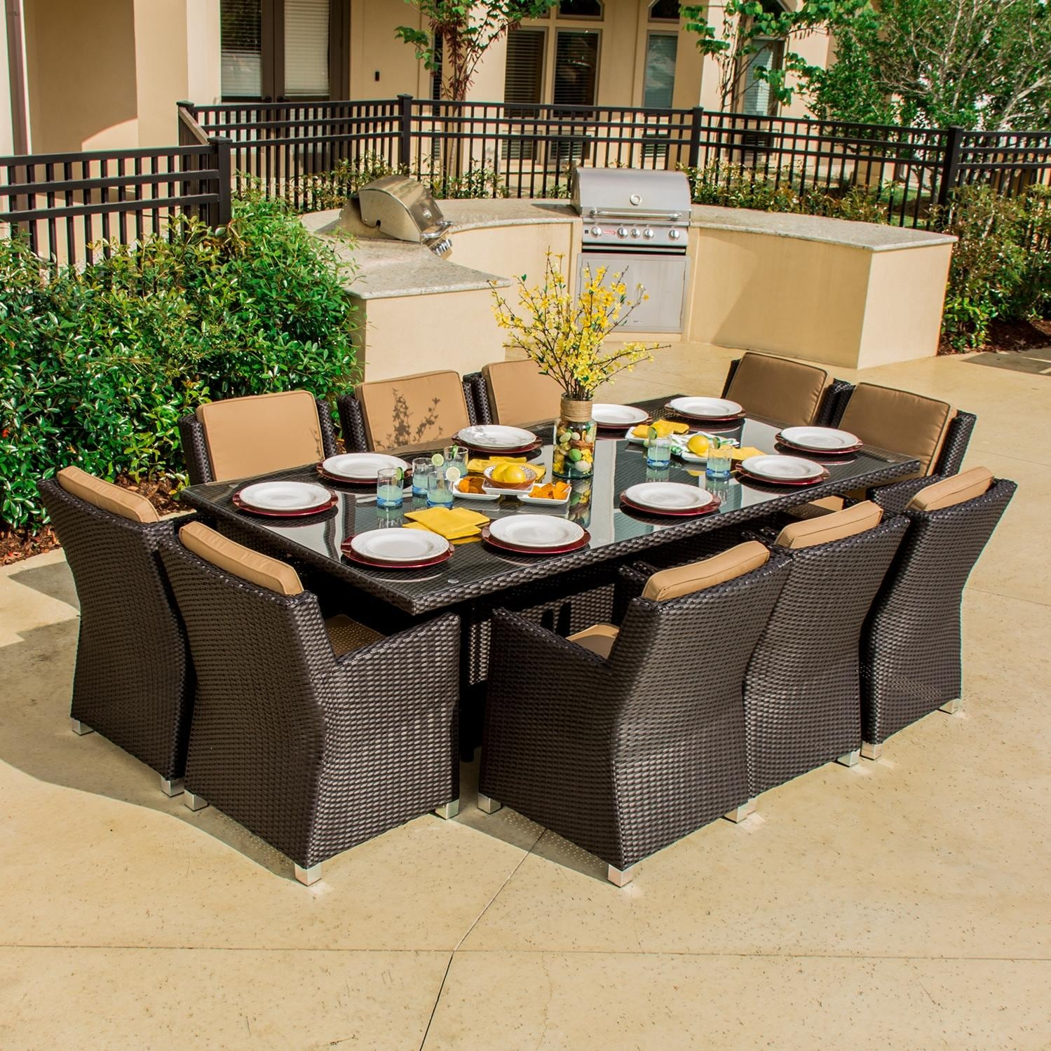 Avery island 10 person resin wicker patio dining set by for Outdoor dining sets for 10