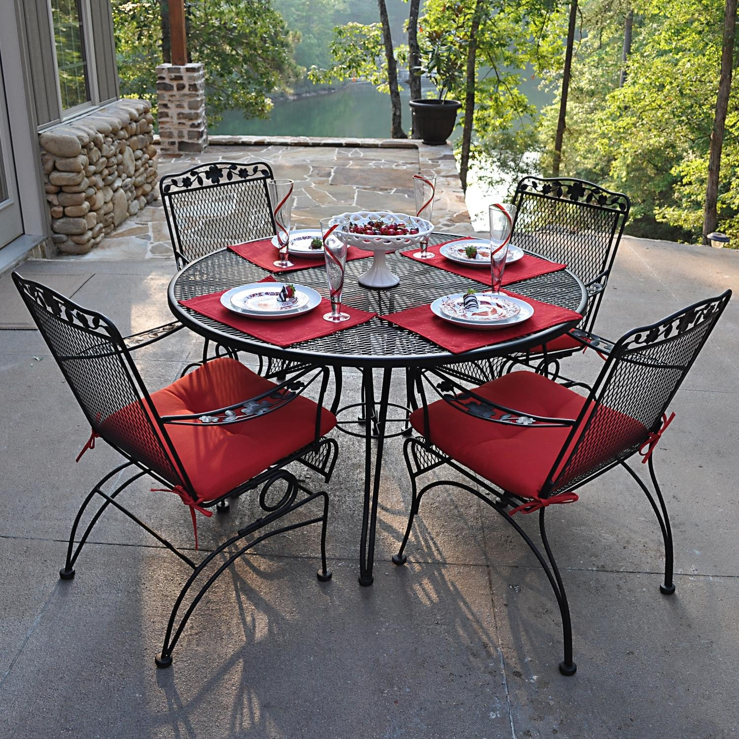 Meadowcraft dogwood wrought iron 5 piece patio dining set for Jardin 8 piece dining set