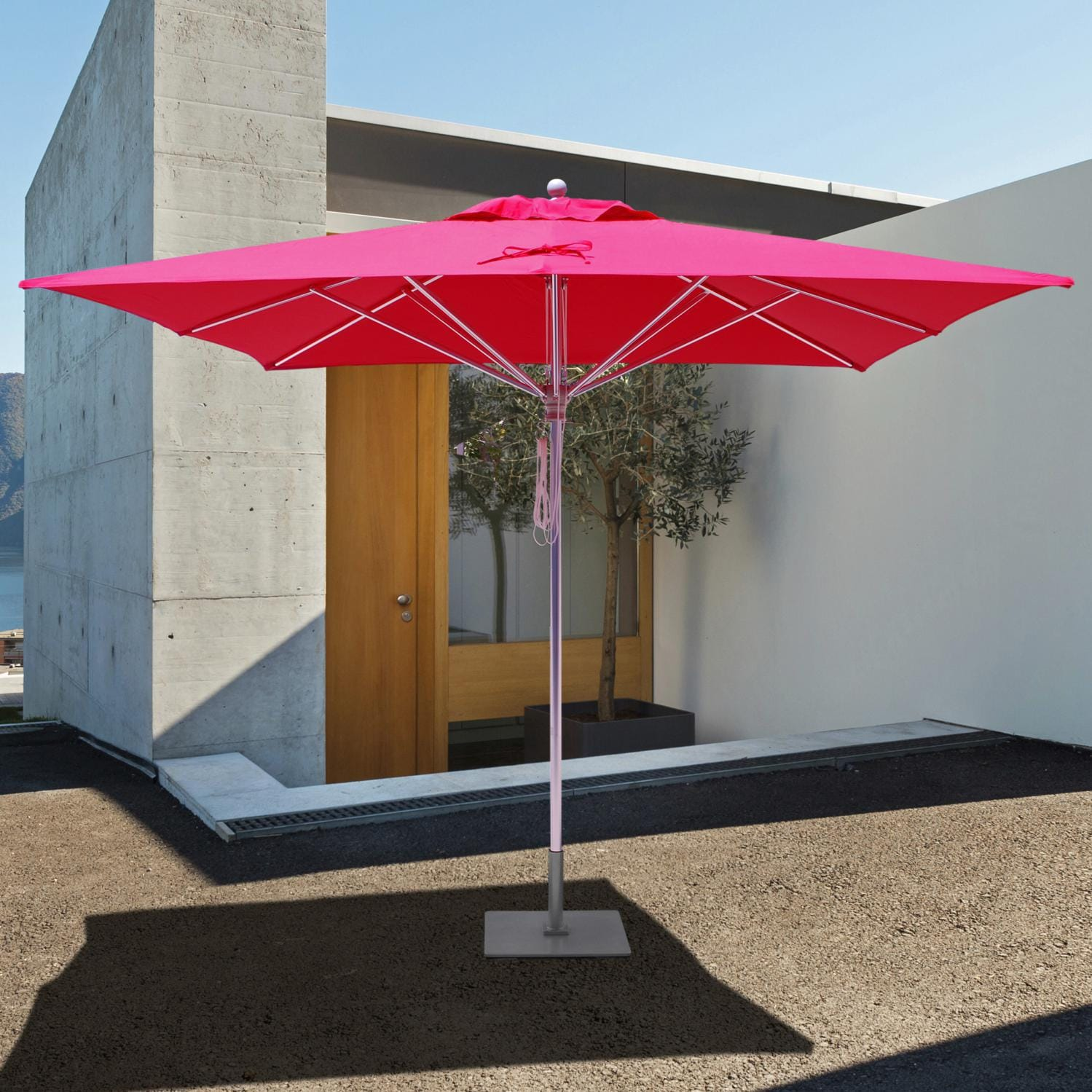 Galtech SR Series 10 Ft Square Aluminum Commercial Patio Umbrella With  Pulley Lift