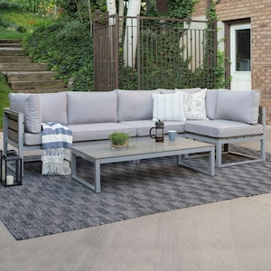 Boardwalk 4 Piece Aluminum Patio Sectional Set W/ Gray Cushions By Walker Edison image