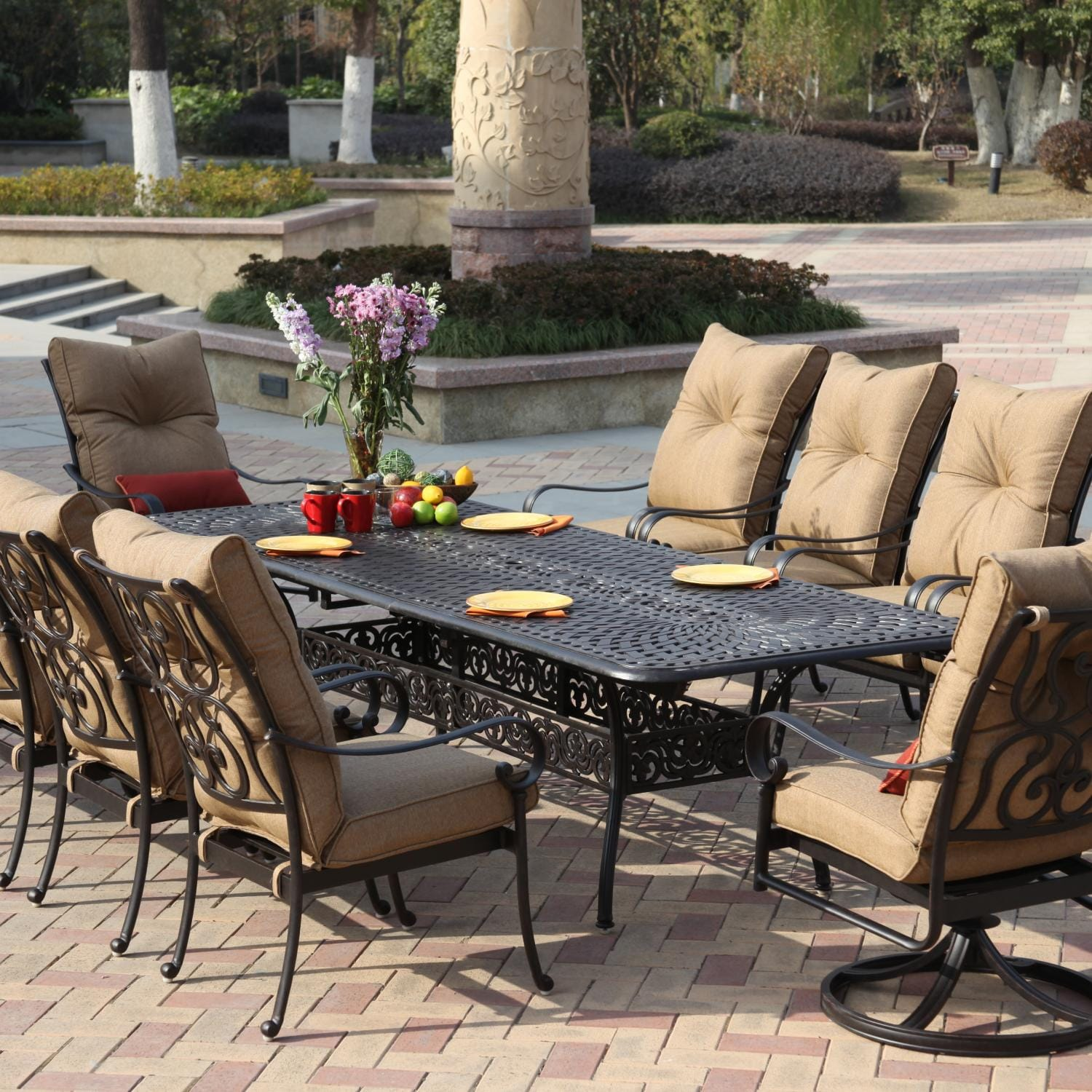Set With Extension Table Darlee Santa Anita 10 Person Patio Dining Set