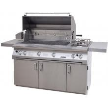 Solaire 56 Inch InfraVection Freestanding Natural Gas Grill On Standard Cart With Rotisserie & Double Side Burner - SOL-AGBQ-56CVV-NG