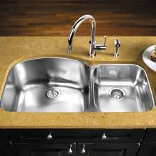 Blanco Wave 37 X 20 18-Gauge 1-3/4 Double Bowl Stainless Steel Undermount Sink - 440242 Blanco Wave 37 X 20 18-Gauge Double Bowl Stainless Steel Undermount Sink - Installed (Shown With Faucet & Drain - Not Included)
