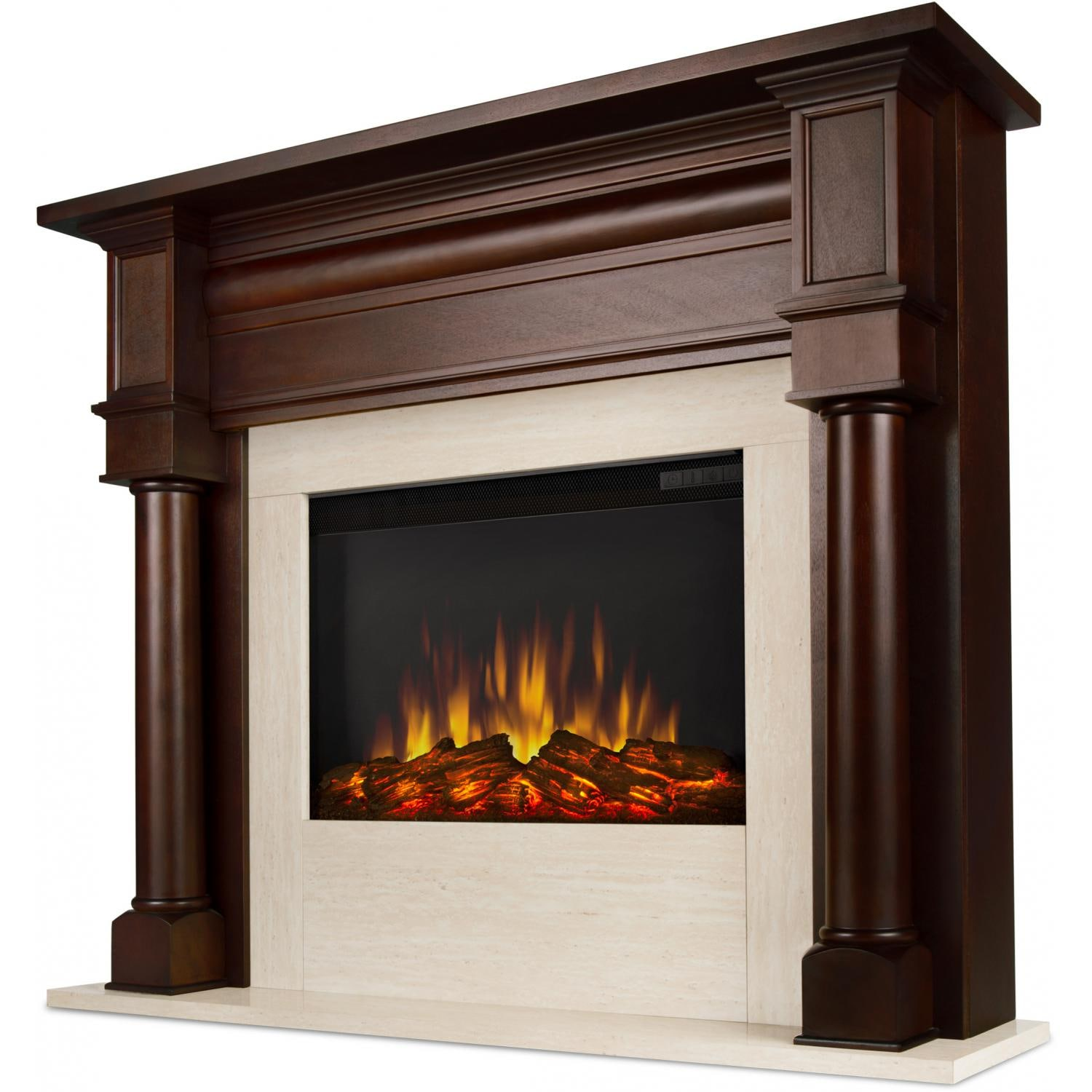 Real flame berkeley 47 inch electric fireplace with mantel for Dark fireplace mantel